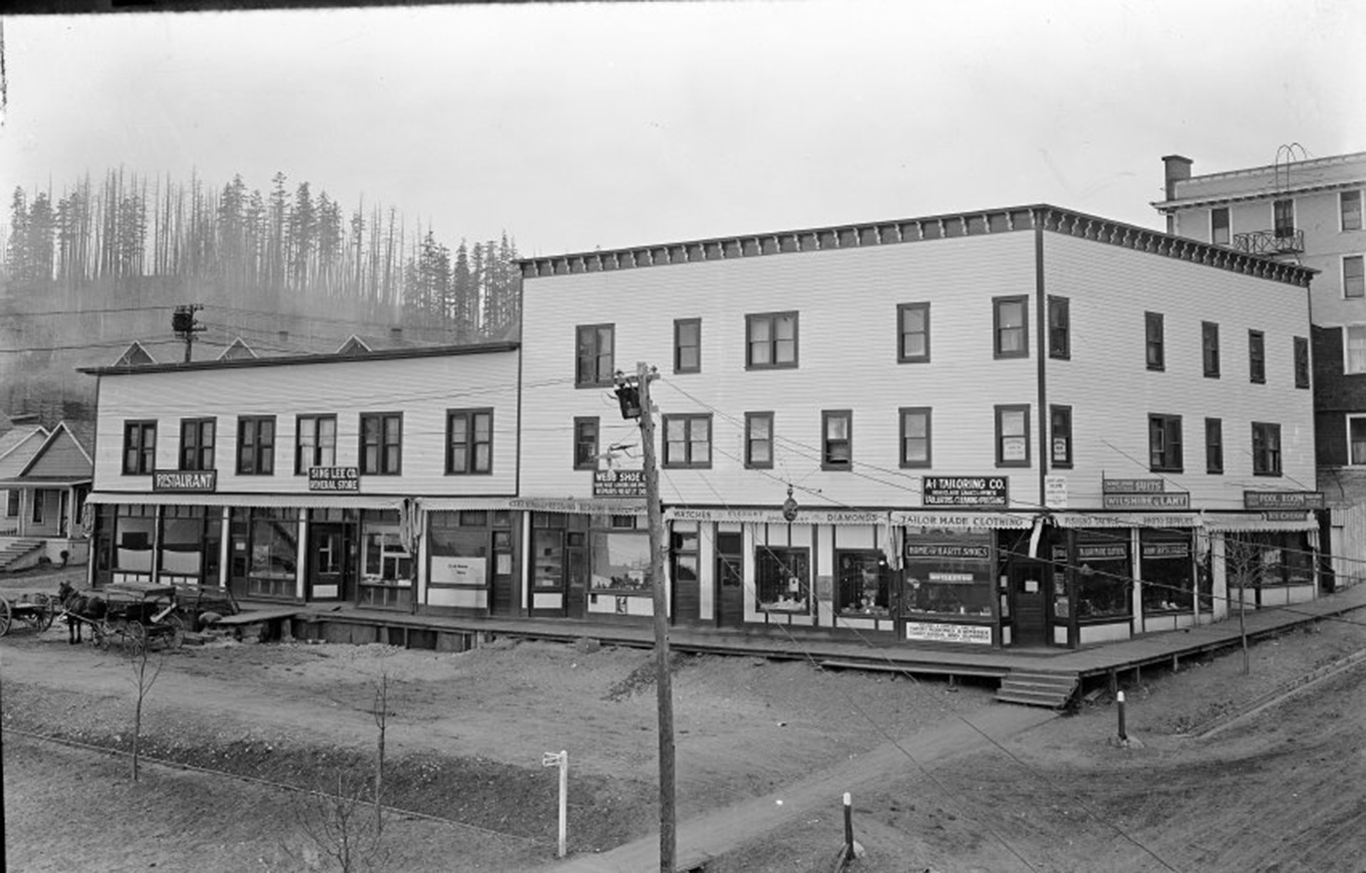 The Sing Lee Company building (known as China Block) in Powell River Townsite, 1916.